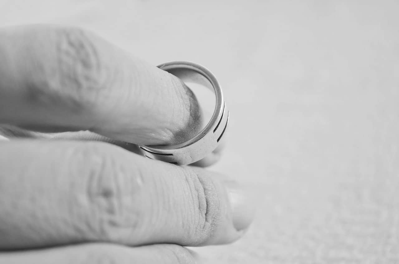 A hand holding a wedding ring - contact our family lawyer in London