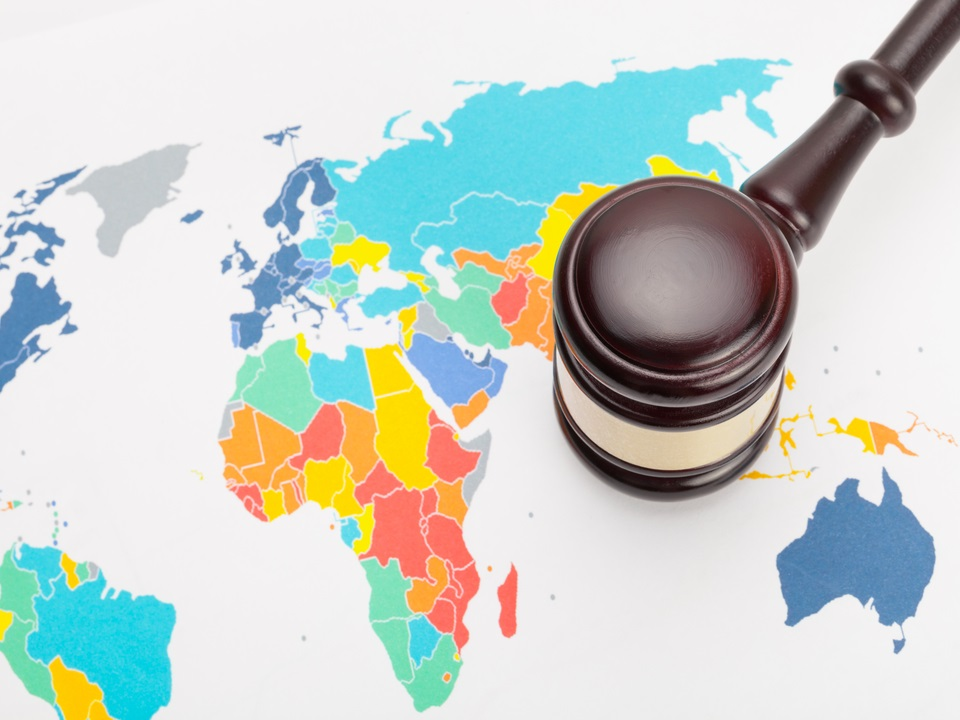A gavel over a map of the world signifying international family law
