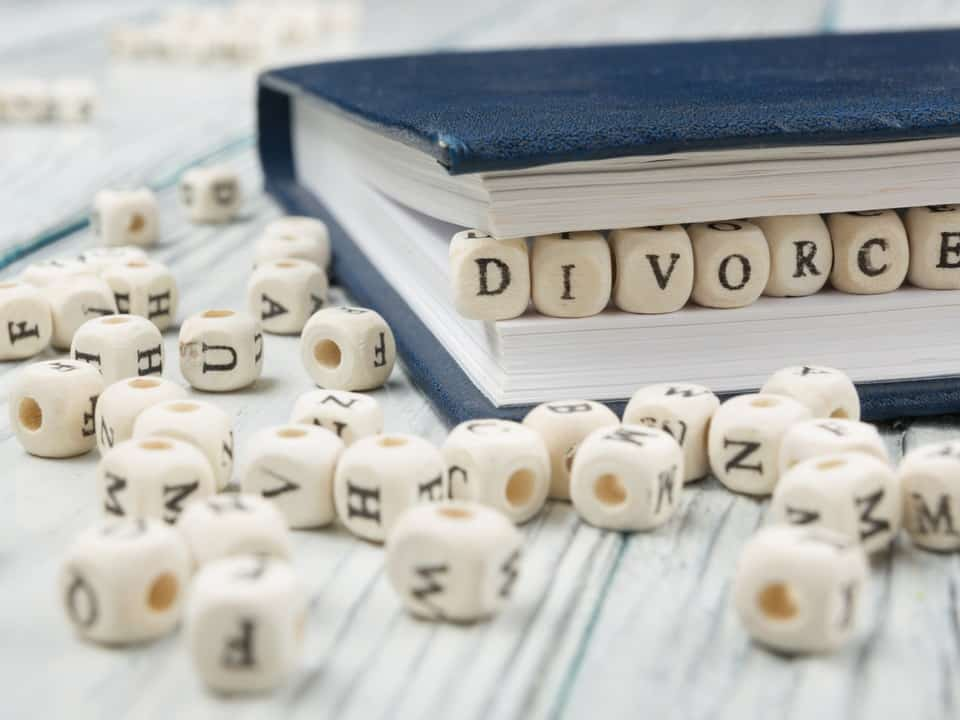 Divorce spelt out with dice on a table surrounding by other dice, the owrd divorce is inbetween the pages of a divorce guide book