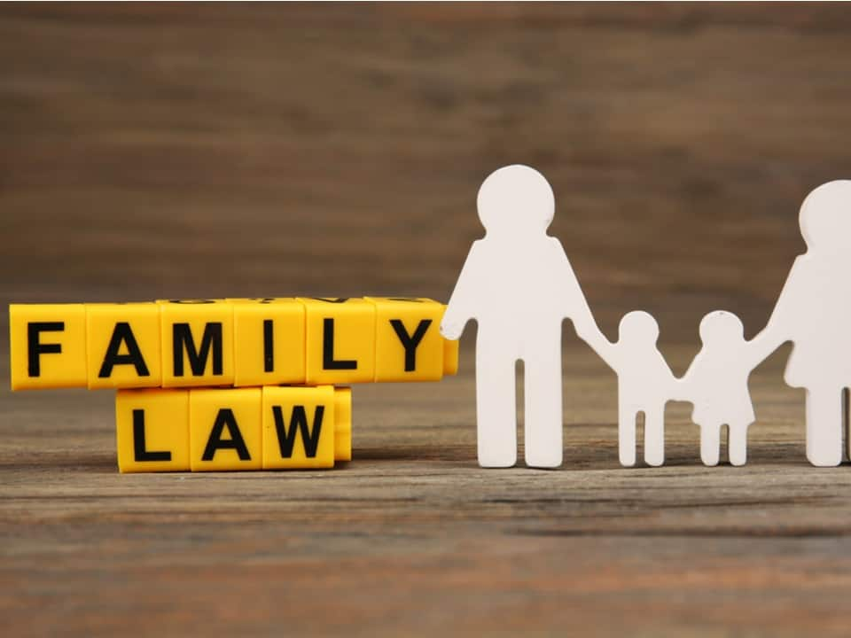 A paperchain family 2 parents, 2 children next to the words family law in yellow blocks
