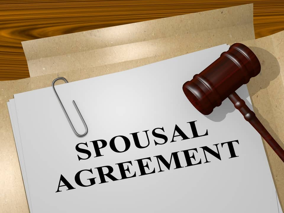 An example of an agreement for spousal maintenance entitlements