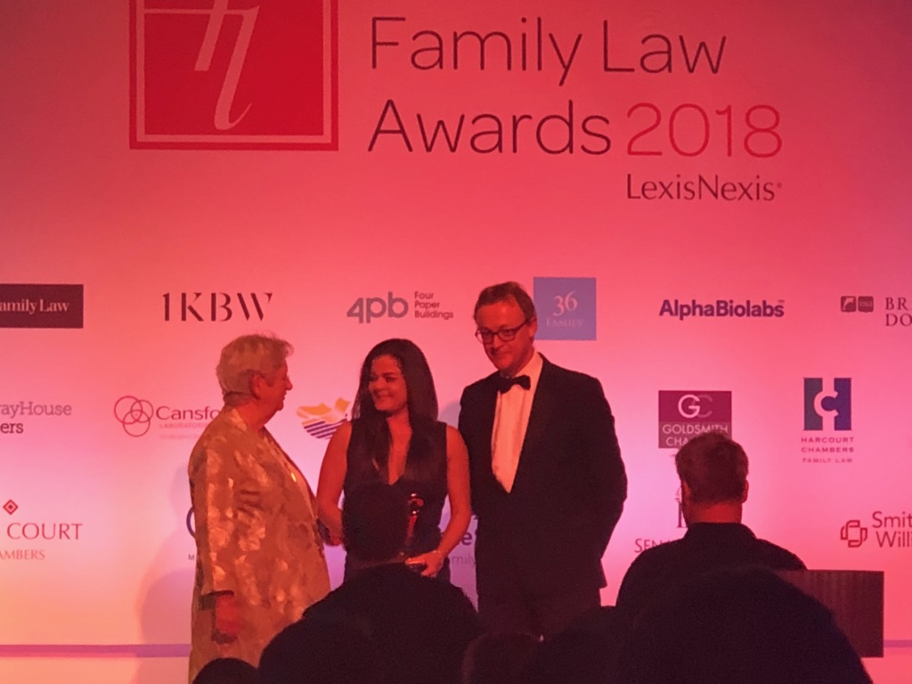 Elizabeth Simos - Family Law Solicitor of the Year receiving her award - currently employed by KMJ family solicitors in London
